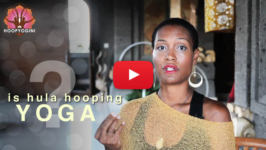 Hoop Yogini promo video still frame - is hula yoga [with play button]